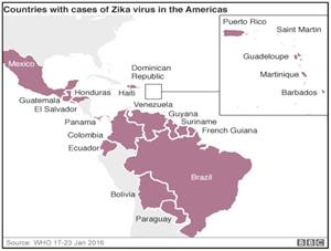 Image of Countries with cases of Zika virus in the Americas