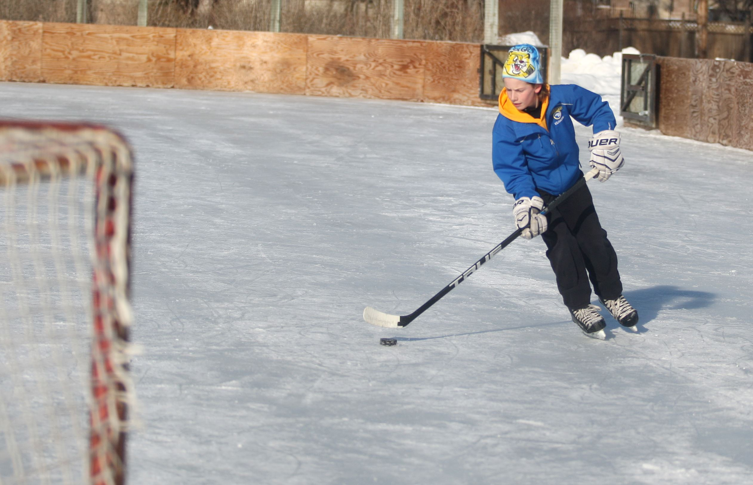 Ice Hockey player on outdoor ice rink