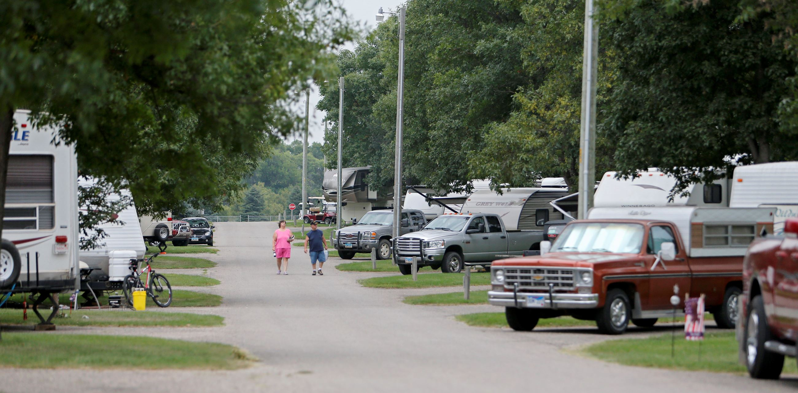 Wylie Park Campground road with campers parked on both sides