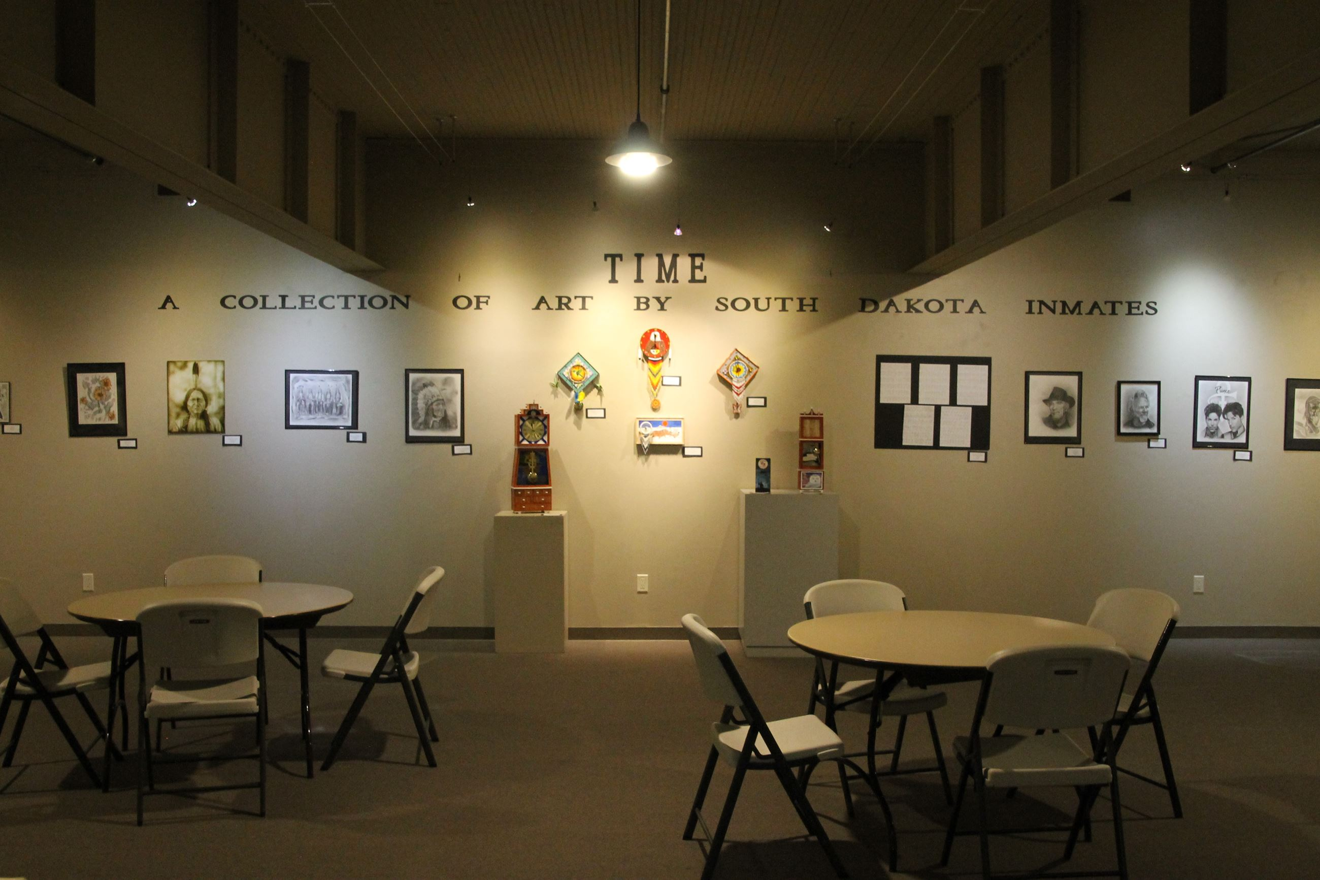 "Images of artwork displayed in the ""Time - A Collection of Art by South Dakota Inmates"""